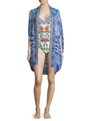 Feather Open Front Silk Cardigan