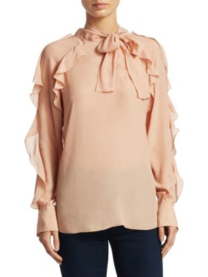 Tie Neck Blouse with Ruffles