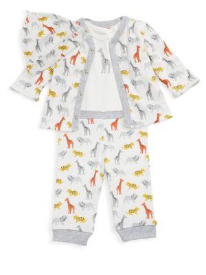 Baby Boy's Four-Piece Printed Cotton Cardigan, Bodysuit, Pants & Hat Set