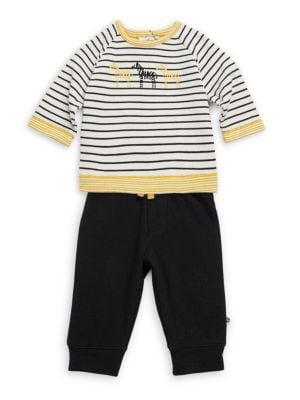 Baby Boy's Two-Piece Wild Zebras Sweater & Jogger Pants Set