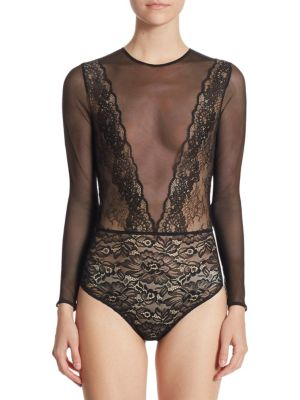FAITH CONNEXION Long-Sleeved Lace And Mesh Bodysuit in Black