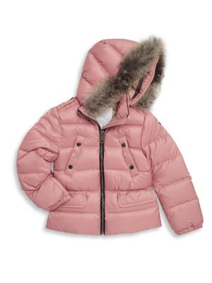 Little Girl's & Girl's Down-Filled Fox Fur Puffer Jacket