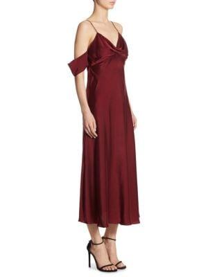 Silk Cold-Shoulder Dress
