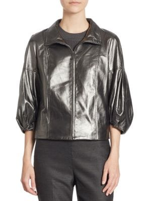 Metallic Leather Jacket