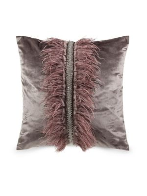 Velvet & Ostrich Feather Pillow