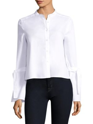 Tie Sleeve Cotton Bell Sleeve Blouse by BCBGMAXAZRIA