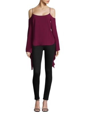 Bell-Sleeve Scoopneck Blouse
