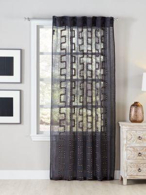 Metal Stud Linen Curtain
