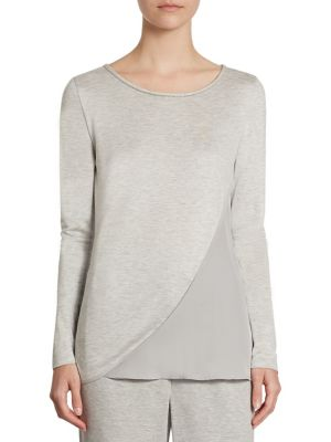 Paneled Scoop Neck Top by St. John