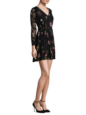 In Bloom Chiffon Mini Wrap Dress