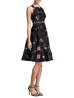 In Bloom Printed Fit-&-Flare Knee-Length Dress