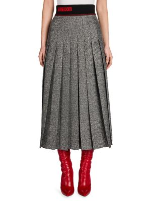 Chevron Pleated Wool & Silk Skirt
