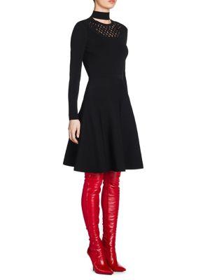 Knit Fit-&-Flare Choker Dress
