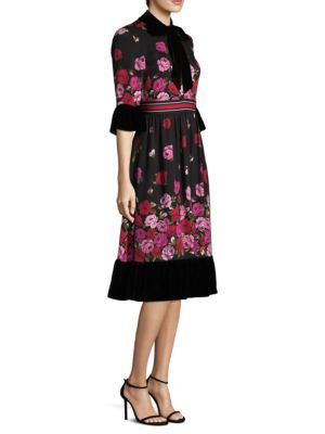 Scattered Rose Silk Knee-Length Dress