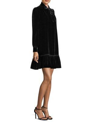 Velvet Tie Front Swing Dress