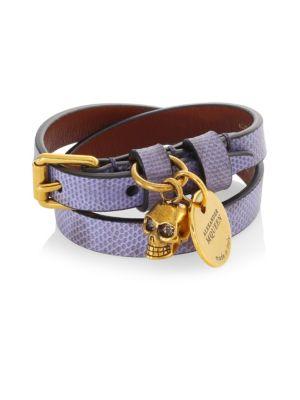 Double Wrap Skull Leather Bracelet