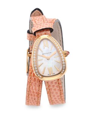 Serpenti Rose Gold & Diamond Double Twist Lizard Strap Watch