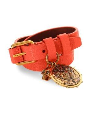 Double Wrap Leather Medallion Bracelet