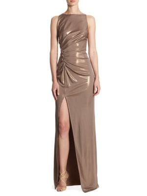 Front Slit Sleeveless Gown
