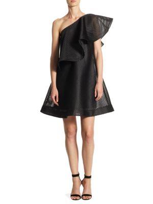 One-Shoulder Ruffled Neckline Dress
