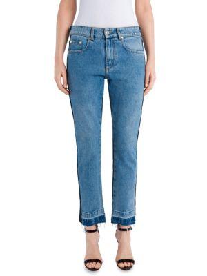 Two-Tone Distressed Denim Jeans