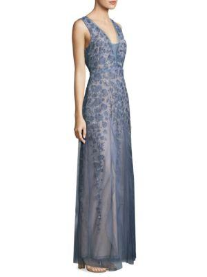 Ruffle Tulle Floor-Length Gown