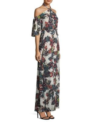Cold Shoulder Floral Halter Gown