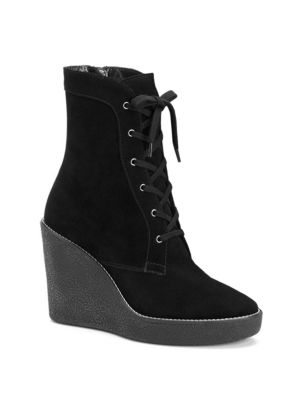 Viviann Suede Lace-Up Wedge Booties