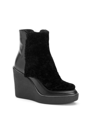 Violett Shearling & Leather Wedge Booties