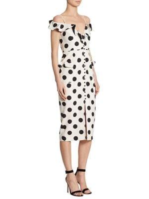 Spot Cold Shoulder Midi Dress