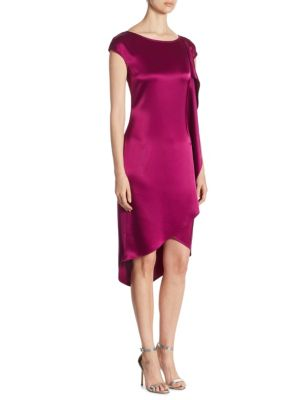 Satin Cap-Sleeve Hi-Lo Dress