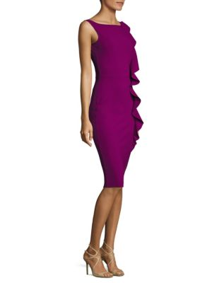 Asymmetrical Vertical Ruffle Bodycon Dress