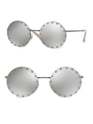52MM Crystal-Trim Mirrored Round Sunglasses