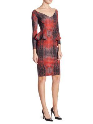 Three-Quarter Sleeve Peplum Dress
