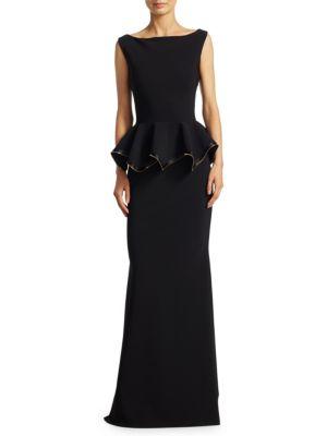 Sleeveless Zipper Peplum Gown