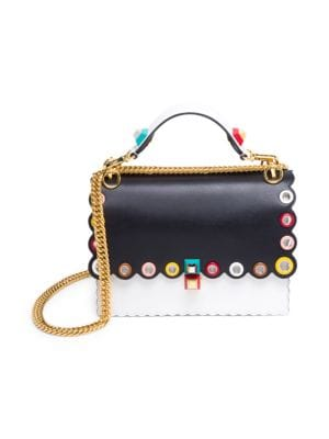 Kan I Studded Two-Tone Leather Chain Shoulder Bag