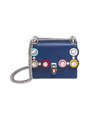 Kan I Small Studded Leather Chain Shoulder Bag