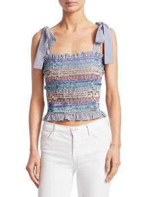 Diedra Cotton Shirred Crop Top