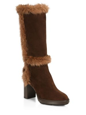 Imelda Shearling & Suede Mid-Calf Boots
