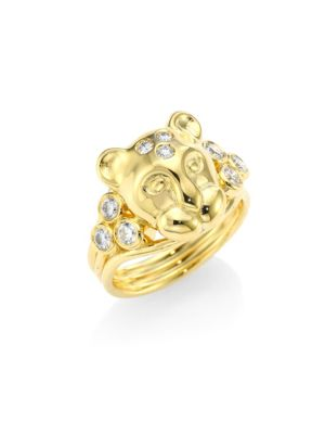 Large Lion Cub Diamond & 18K Yellow Gold Ring