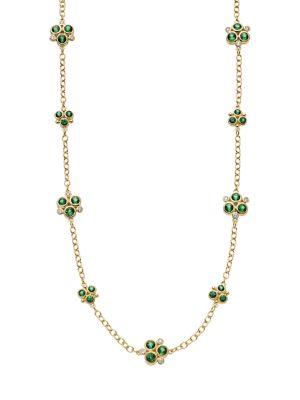 18K Yellow Gold, Diamond & Emerald Trio Necklace