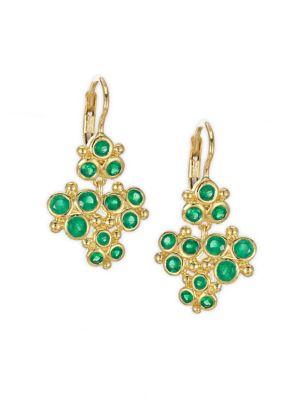 Cluster Trio Emerald Earrings