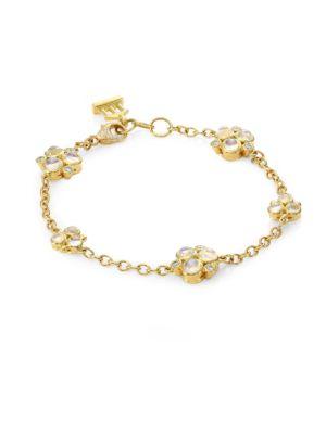 Trio Diamond & Blue Moonstone Bracelet