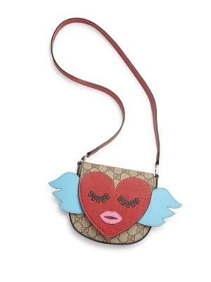 Winged Heart Leather Shoulder Bag