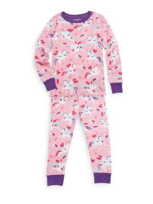Little Girl's & Girl's Two-Piece Winged Unicorns Cotton Pajama Set