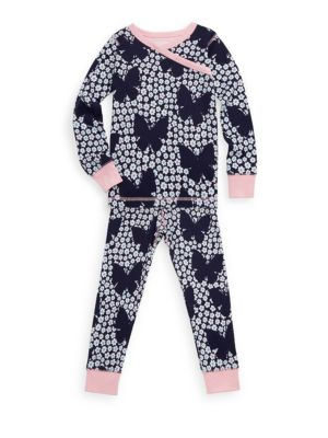 Little Girl's & Girl's Two-Piece Butterflies & Buds Cotton Pajama Set