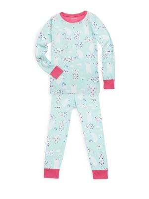 Little Girl's & Girl's Two-Piece Arctic Party Cotton Pajama Set