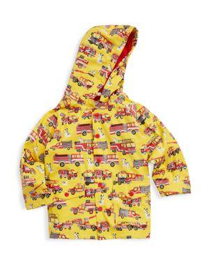 Little Boy's & Boy's Fire Trucks Polyurethane Raincoat 0400095449799