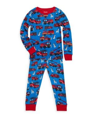 Little Boy's & Boy's Two-Piece Fire Trucks Cotton Pajama Set