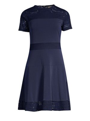 Mesh Accented Roundneck Dress
